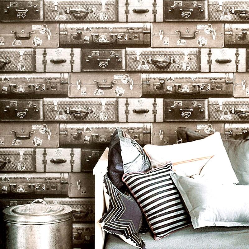 ФОТО Reminisced wallpaper vintage luggage retro leather finishing box wallpaper
