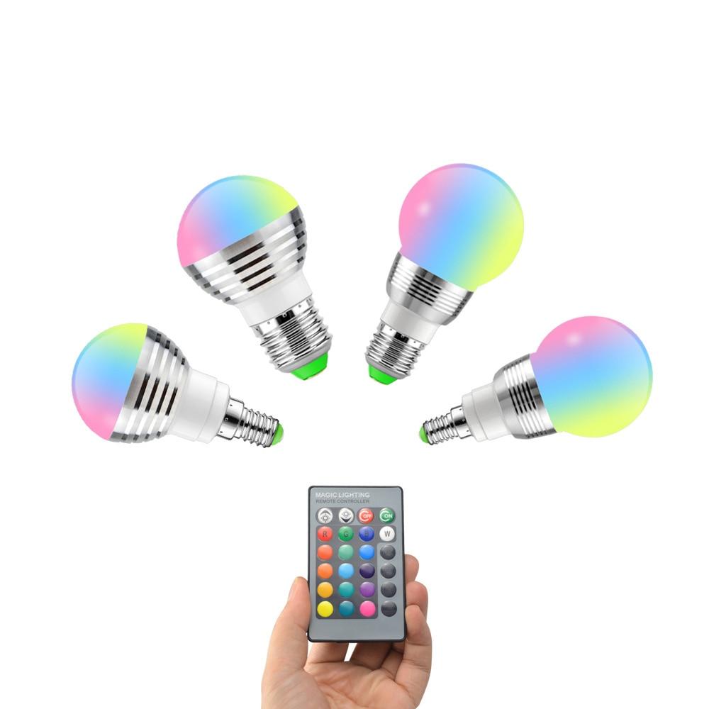E14 E27 RGB LED Soptlight 5W 7W 85-265V LED RGB Bulb Light 16 Color Change Lamp Lampada 24key Remote Control Holiday Decoration