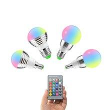E14 E27 RGB LED Soptlight 5W 7W 85 265V LED RGB Bulb Light 16 Color Change lamp Lampada 24key Remote Control holiday Decoration