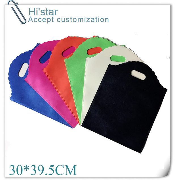 30 39.5CM 20pcs Good Quality Colorful Plain Dyed Ultrasonic Nonwoven Bags 05413c4db1dc2