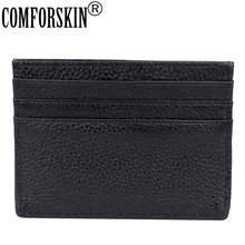 COMFORSKIN Guaranteed 100% Cowhide Leather ID Card Credit Holders Genuine Ultra Thin Unisex Case 2018 High Quality