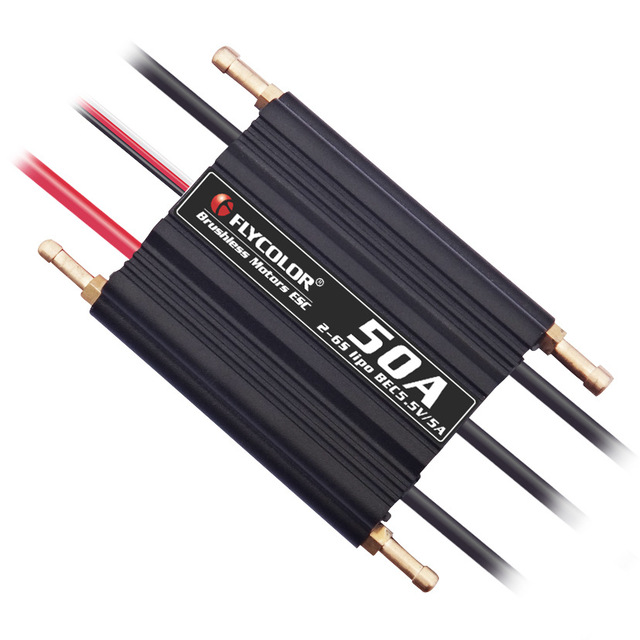 FlyColor 50A/70A/90A/120A/150A Brushless ESC Waterproof Speed Controller 2-6S BEC 5.5V/5A for RC Boat Model Ship h625 pnp spike fiber glass electric racing speed boat deep vee rc boat w 3350kv brushless motor 90a esc servo green