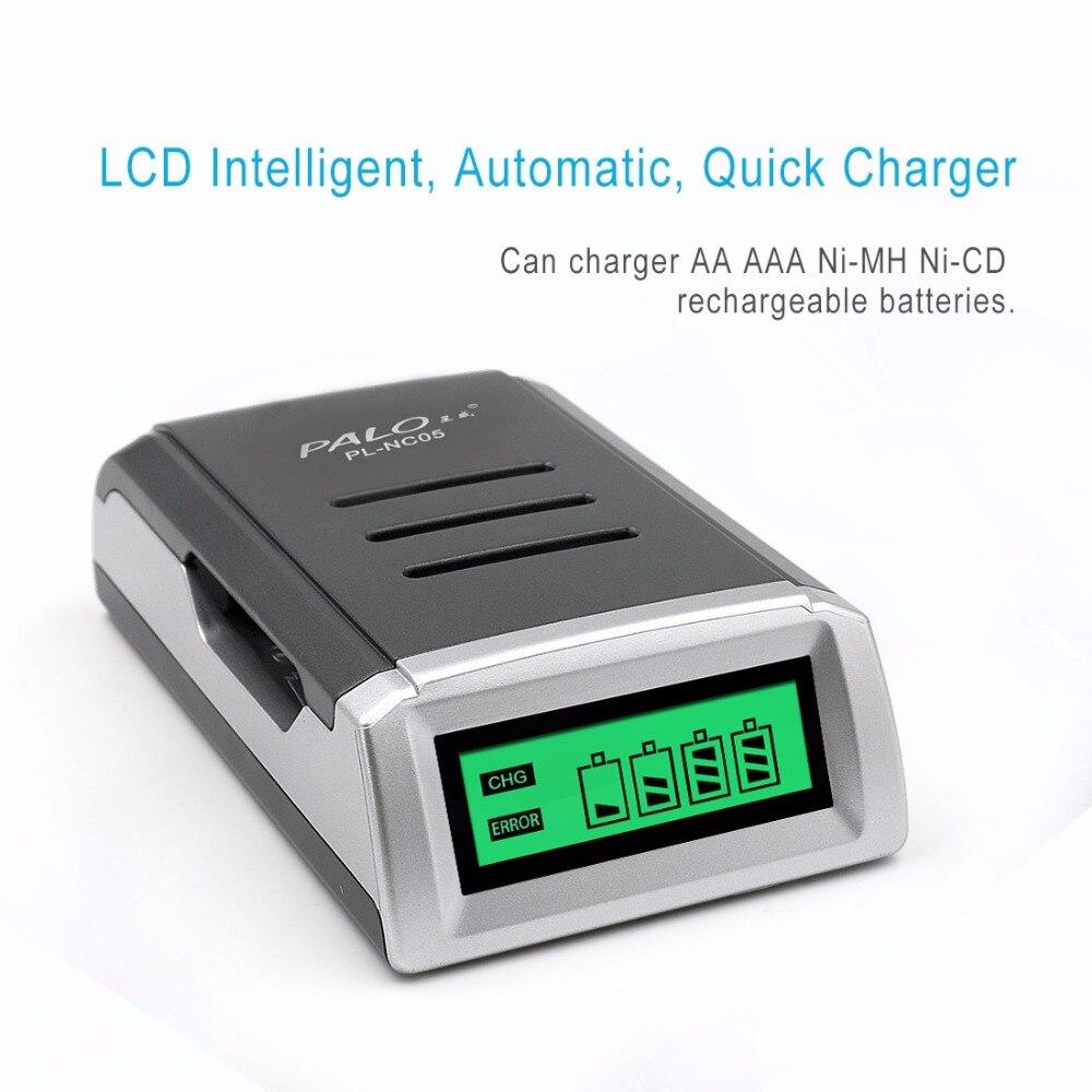 PALO C905 pantalla LCD con 4 ranuras inteligente cargador de batería para AA/AAA NiCd NiMh baterías recargables rápido carga