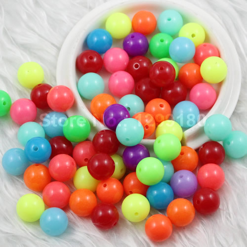 k01746 100pcs/lot Mixed Fluorescent Neon Beads Acrylic Solid Beads Aaa Round Beads For Kids Necklace Bracelet Diy Jeweley 12mm To Have A Unique National Style