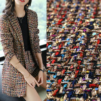 New Coat Color Woven Gold Thread Woolen Tweed Small Fragrance Fabric Suit Jacket Autumn And Winter