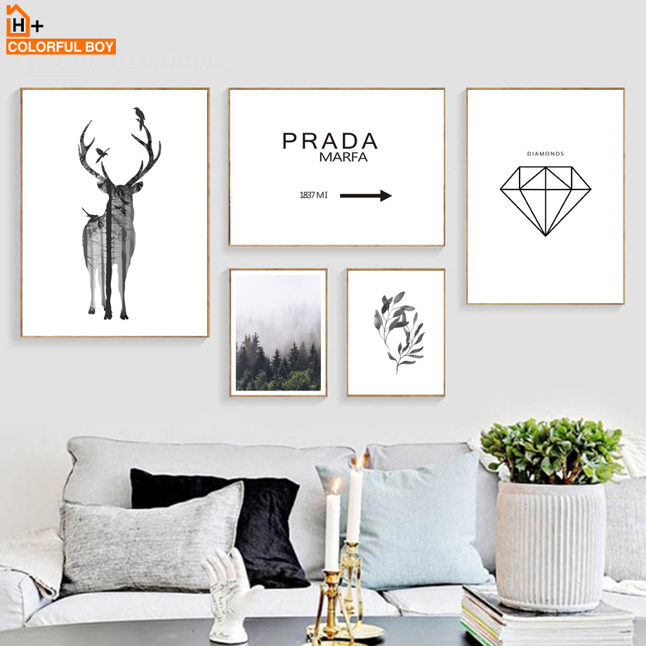 COLORFULBOY Nordic Style Deer Prada Diamond Landscape Wall Art Print Canvas Painting Poster Wall Pictures For Living Room Decor