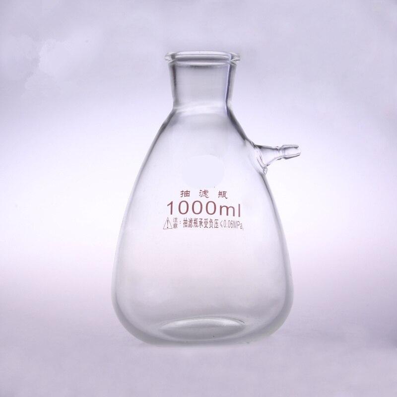 Flacon de Buchne en verre 1000 ml avec un tube; flacon filtrant daspiration; verrerie de laboratoire; fournitures de laboratoireFlacon de Buchne en verre 1000 ml avec un tube; flacon filtrant daspiration; verrerie de laboratoire; fournitures de laboratoire
