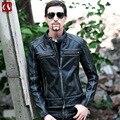Nueva chaqueta de cuero de piel de vaca de espesor hombres lavado Marca Hombre Negro chaqueta de Motorista de La Motocicleta Bomber Capa del Hombre de edad de couro masculino