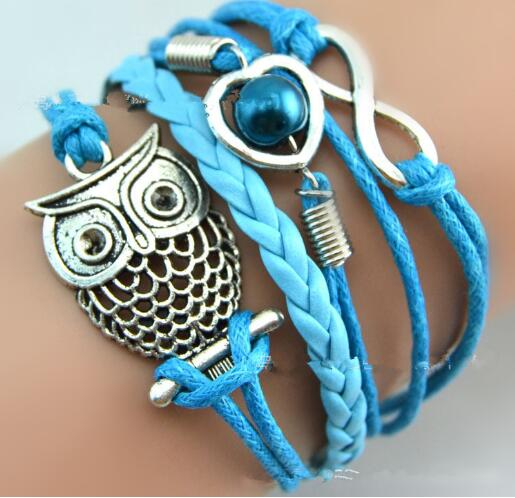 Europe and the United States retro hollow owl heart 8 word combination of  accessories manual multi - layer braide bracelet