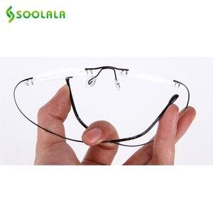 Image 3 - SOOLALA נשים גברים טיטניום נירוסטה ללא מסגרת משקפי קריאה גבוהה סוף קל קוראי משקפיים עם מקרה + 1.0 כדי 3.5