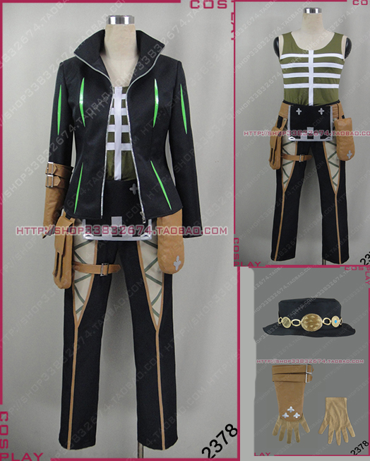 Anime Tales of Zestiria Dezel cos Uniform suit Cosplay Costume with hat and gloves