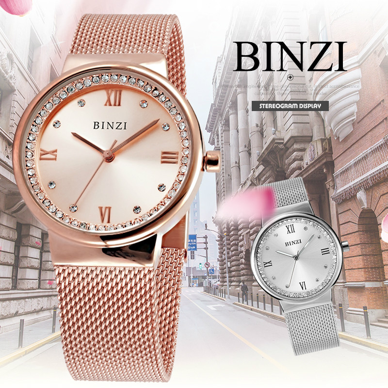 BINZI Luxury Watch Women Watches Clock Rhinestones Diamond Watch Milan Strap Rose Gold Silver 2018 New Fashion relogio feminino