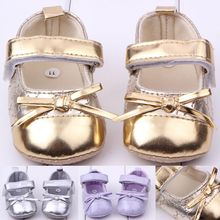 Wholesale Kids Leather Shoes Bowknot Hook&Loop Baby Girl Dress Shoes Frewalker Shoes