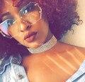 Mujeres de La Manera de gran tamaño gafas de Sol Sin Montura Gradiente Lente UV400 Marco de Metal gafas de Sol Mujer de Cristal Claro De Cristal Transparente 2017