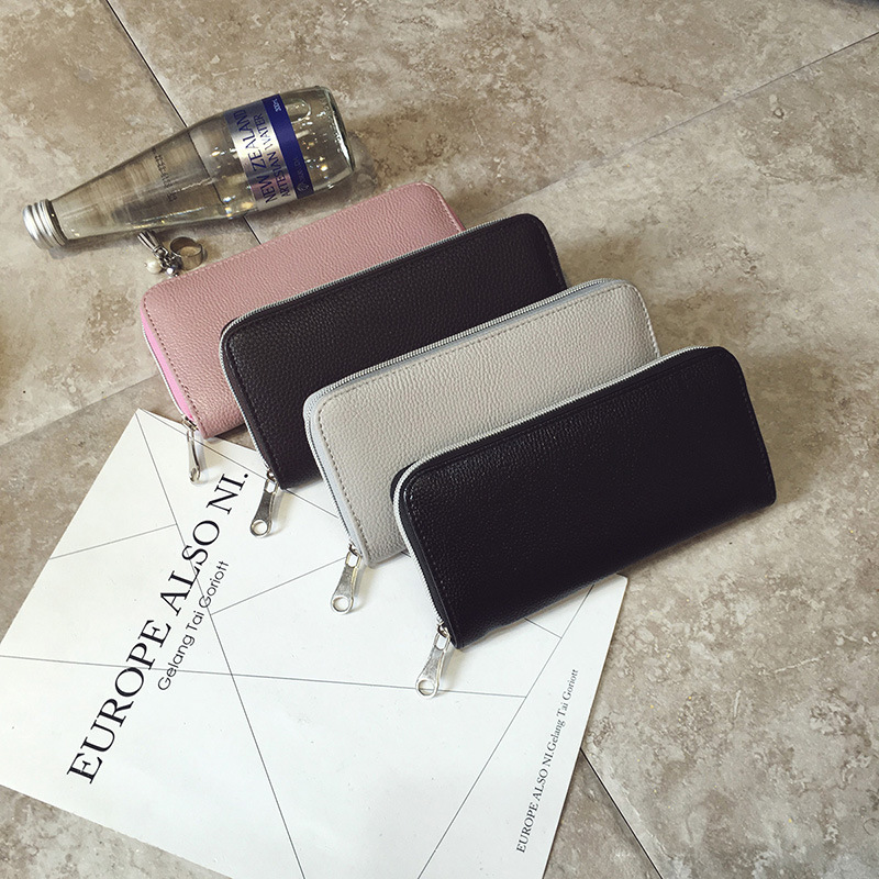 Men and women factory wallet card bag classic litchi grain zipper hand bag zero wallet tidal wave