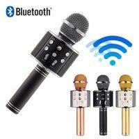 Беспроводной bluetooth микрофон WS858 профессиональный конденсаторный караоке микрофон Стенд радио микрофон студия записи WS 858