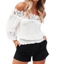 2216483ea072a Nueva moda mujer blusa Puff manga Slash cuello Soild camisa encaje de hombro  volantes femenino blusas señoras elasticidad Tops  .