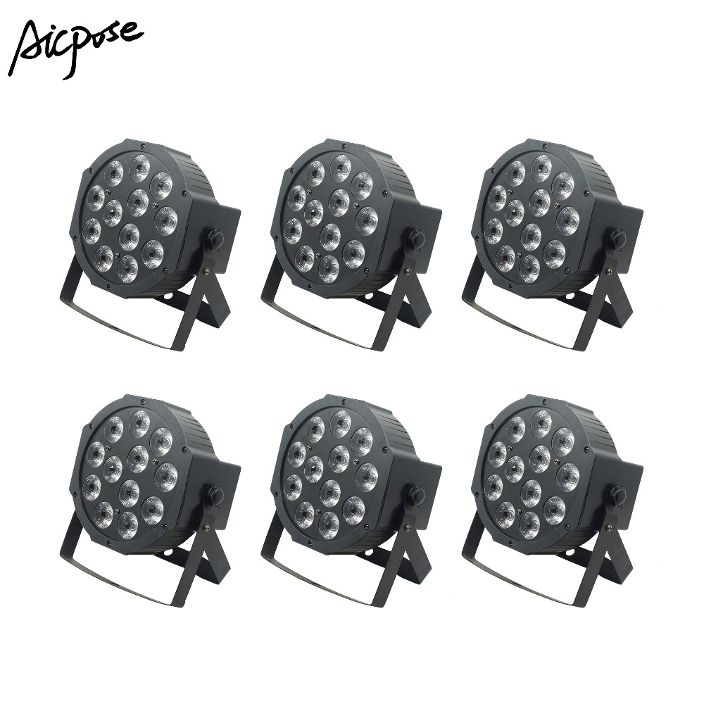 Flight Tracker 6pcs/lots Led Par Lights 12x12w 6 In1 Rgbwa Uv Flat Par Led With Dmx512 Control Wall Washer Lighting Wedding Party Stage Light Orders Are Welcome. Stage Lighting Effect Commercial Lighting