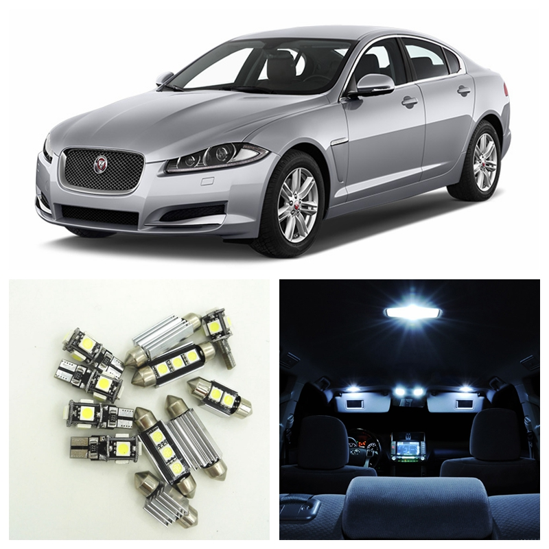 13pcs Canbus Car White LED Light Bulbs Interior Package Kit For 2009-2015 Jaguar XF Map Dome Trunk License Plate Lamp white canbus car led dome map mirrors puddle trunk lighting package for audi q5 sq5 led interior light kit 2009 2013 22x