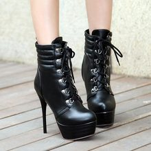2014 Super sexy platform ankle boots women autumn fashion ladies lace up Round toe ultra high heels martin motorcycle boots