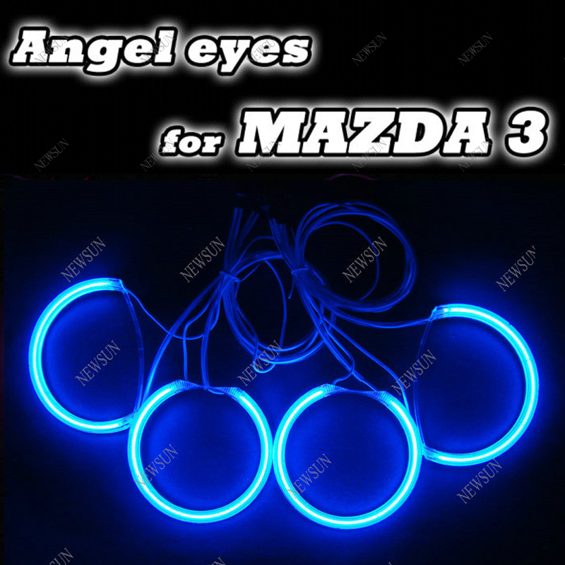 Colorful CCFL ANGEL EYES HALO RING KIT with inverters FOR MAZDA 3 SEDAN HATCHBACK  04-08  white/red/bule/yellow halo ring kit for honda odyssey 4th g rb3 rb4 chassis 2008 present excellent ultrabright headlight illumination ccfl angel eyes kit halo ring