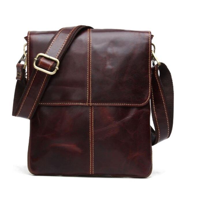 Cow Leather Men Messenger Bag Casual Business Vintage Men\'S Bag Genuine Leather Shoulder Bag Crossbody Bag Brown/Khaki/Coffee