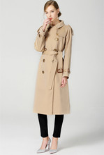 Top quality england style Trench coat womens double breasted windbreaker Fashion lady elegant belt D519