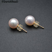Fine Wedding Jewelry 14k Gold Pins High Quality 9mm Natural Southsea Round Pearl Beads Stud Earrings Express Shipping
