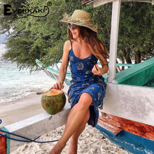 Women Embroidery Patterns Spaghetti Strap V Neck Sleeveless Blue Dress