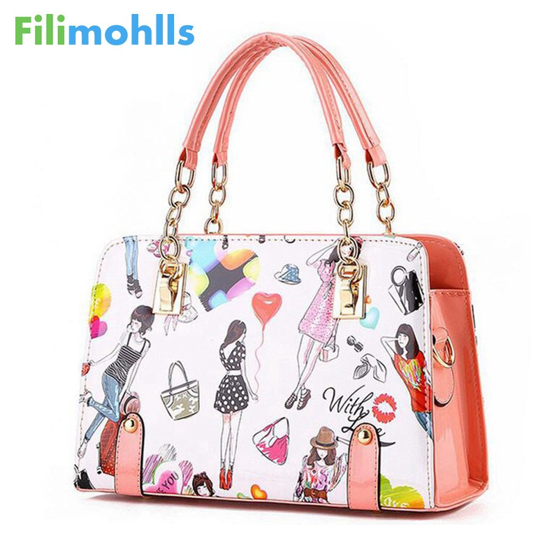 ca5ce17d256 Women Handbags 2018 New Fashion Summer Chain Ladies Hand Bags Cartoon Girl  Printed Female Crossbody Bags Casual Tote S-64