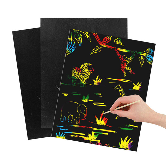10 Sheets Magic Scratch Art Painting Paper With Drawing Stick Kids Toy Black 26cmX19cm Environmentally-friendly Odorless