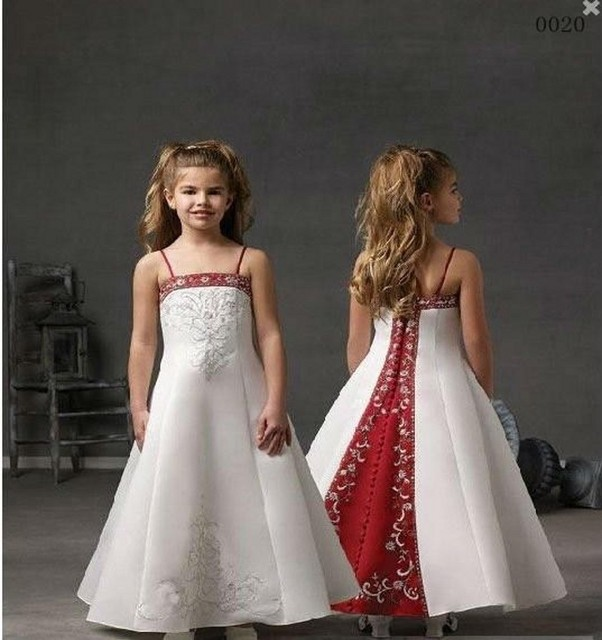 3a43f3b783fa Cute Little Girl Dresses for Wedding Spaghetti Strap Red And White Flower  Girl Dresses with Embroidery Beadings Long Custom Made