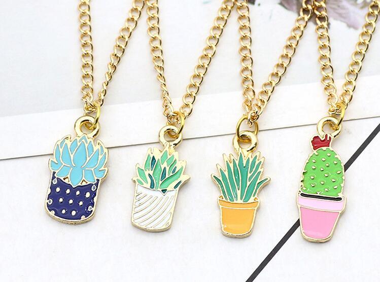Новый милый мультфильм мини-эмаль растение сочные кактус кулон Цепочки и ожерелья для девочек и мальчиков Детский DIY прекрасные ювелирные изделия Kawaii подарок