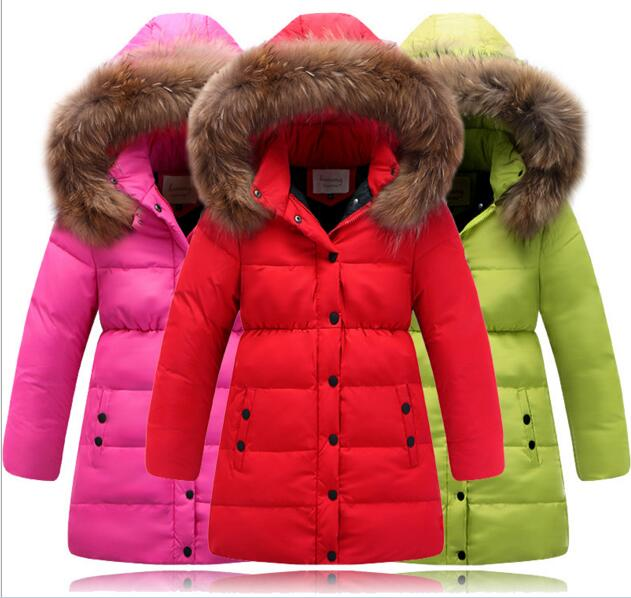 2016 new Girls Down Jackets children Cotton Jacket winter child girls in the long thick big fur collar coat with Hat parkas 2017 winter new clothes to overcome the coat of women in the long reed rabbit hair fur fur coat fox raccoon fur collar
