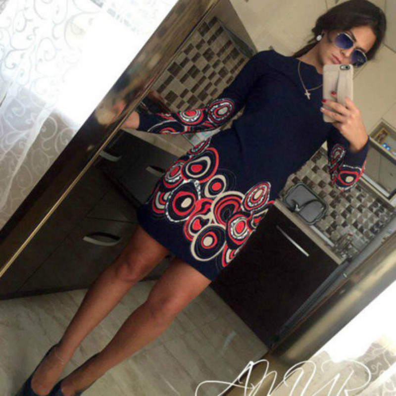Vintage Women Casual Long Sleeve Printed Skinny Mini Dress 2019 Lady Street Wear Vestido