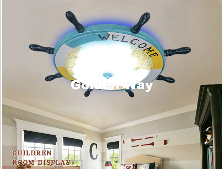 D73cm Modern Blue Cartoon Remote Controller LED Ceiling Lights 110V 220V Children Bedroom Lovely LED Ceiling Lamps Free Shipping