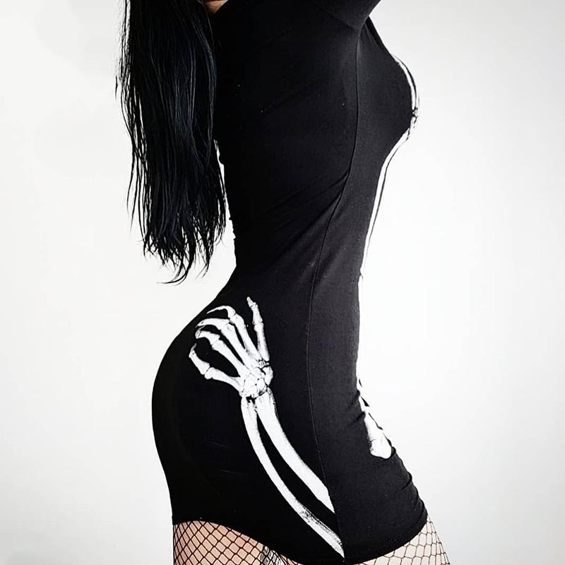Vestido de manga larga cuello redondo gótico calavera 2