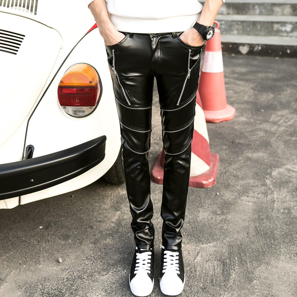 Non Mainstream Young Zipper Sexy Mens Pants Mens Trousers Formal PU Faux Leather Pants Man Compression Pants Hip Hop Joggers