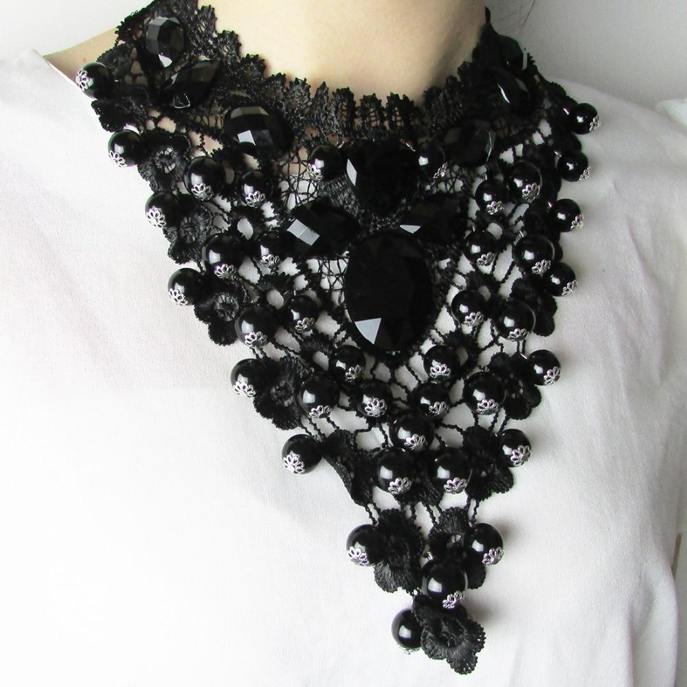 2017 Fashion Women Jewelry Black Faux Pearl Pendant Collar Choker Lace Necklace