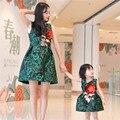 Bebê do aniversário da menina do vintage vestido mãe mãe e filha combinando flores formal vestido de festa roupas para meninas e mães