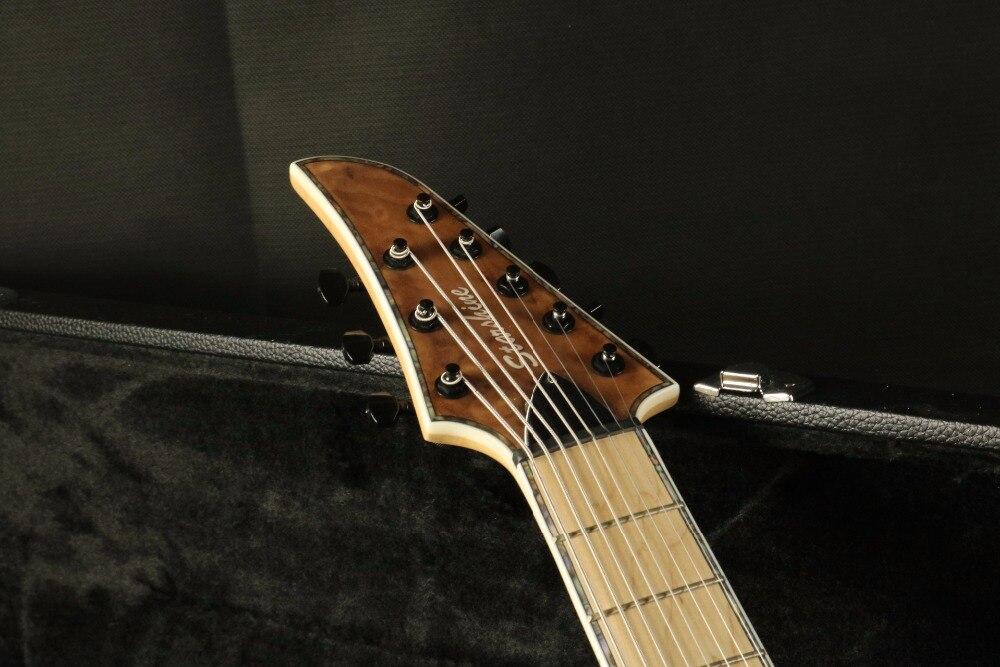 Stock haute qualité 8 cordes guitare électrique cou à travers le corps 5 pièces finition lasure bois 24F verrouillage accordeur Daddario cordes couette M - 4