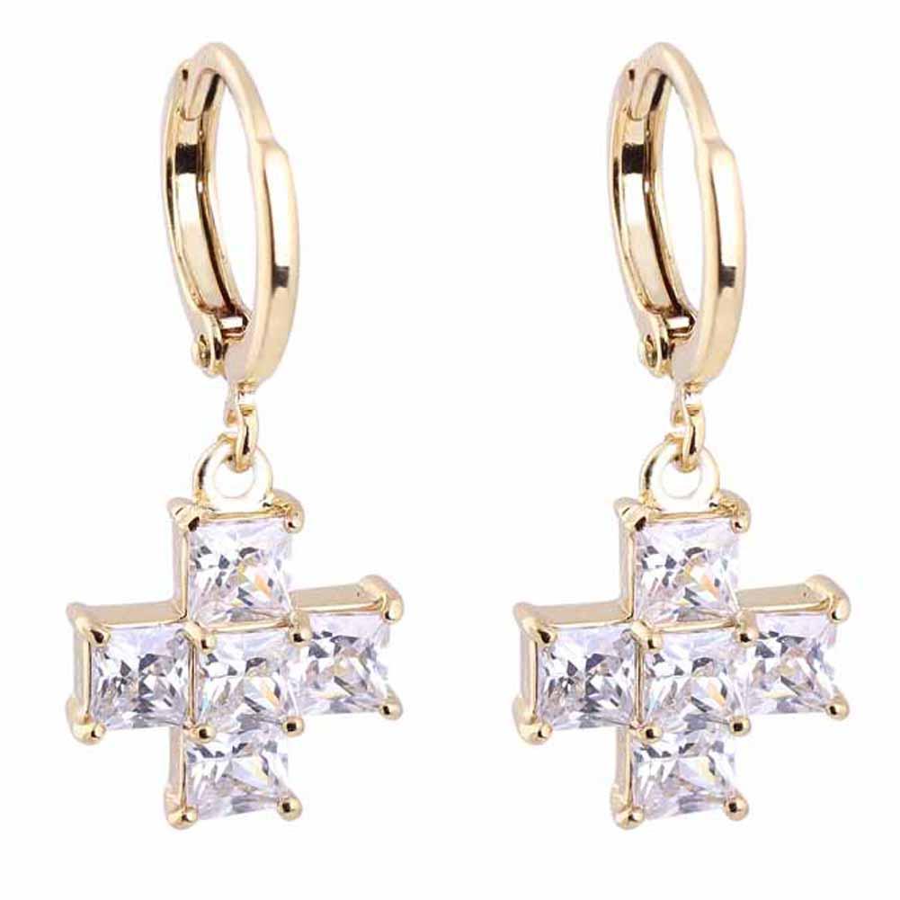 Exquisite Kobiety Złoto Dangle Kolczyki Biały Krzyż Kształt Kryształ  Wisiorek Kolczyk Sprzedaż M8694(china (