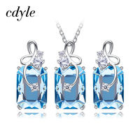 Cdyle Crystals from Swarovski 5 Colors Crystal Pendant Necklace Earrings Set 925 Sterling Silver Elegant Jewelry Set Women Gifts