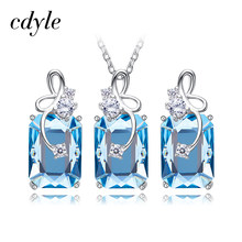 Cdyle Embellished with crystals from Swarovski Pendant Necklace Earrings Set 925 Sterling Silver Elegant Jewelry Set Women Gifts(China)