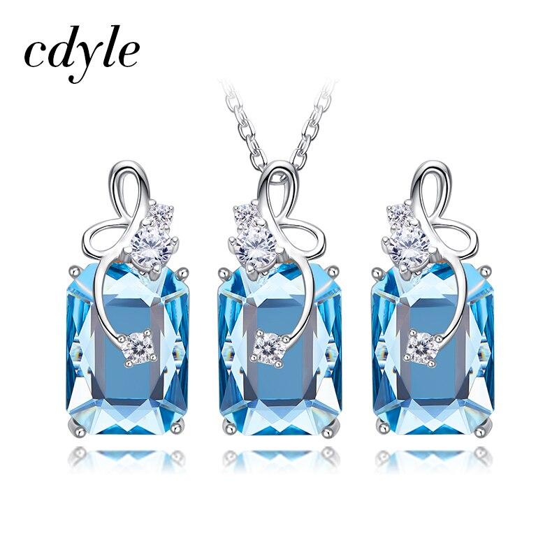 Cdyle orné de cristaux de Swarovski pendentif collier boucles d'oreilles ensemble 925 en argent Sterling élégant bijoux ensemble femmes cadeaux