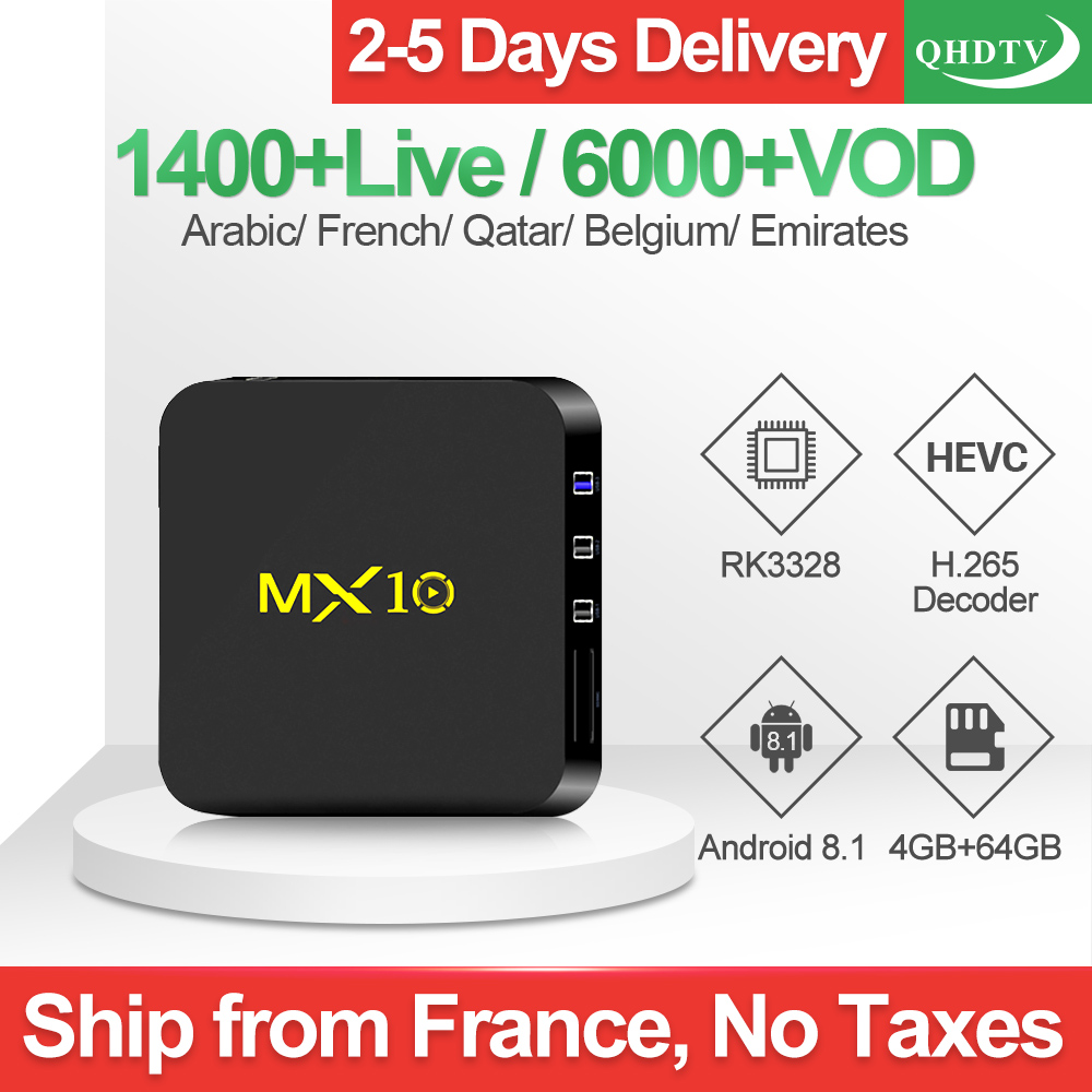 1 an QHDTV IPTV Code MX10 IP TV Box français arabe espagnol IPTV FULL HD TV Box Android 8.1 italien Beligium IPTV abonnement
