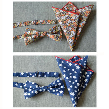 NEW ARRIVAL Men Fashion Cotton Floral Star Matching Bow Tie Handkerchief Set BWTYX0054