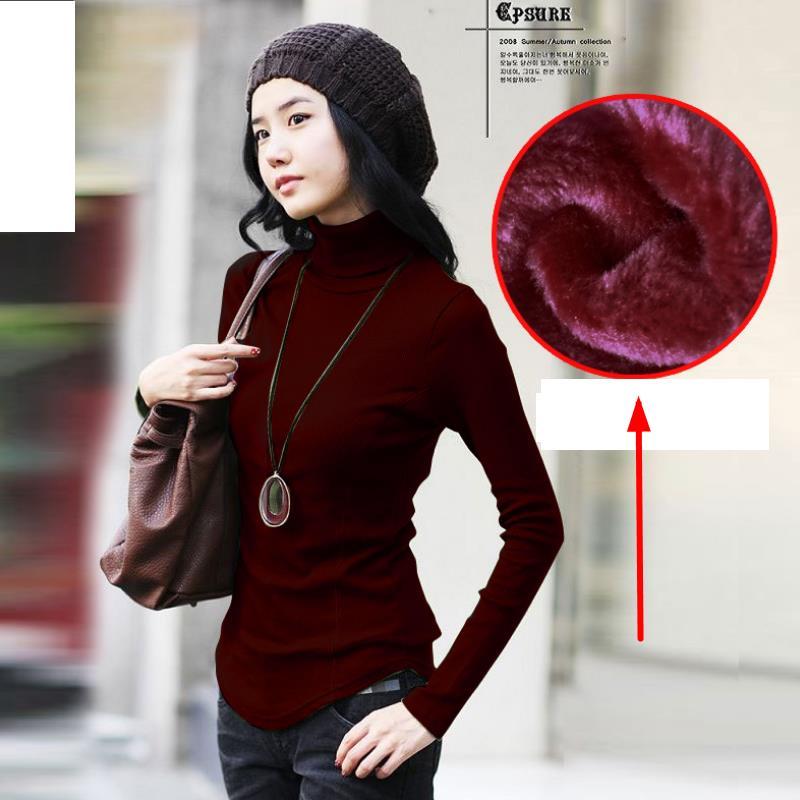 Naturalne bawełniane damskie swetry Dzianinowa koszula z golfem - Ubrania Damskie - Zdjęcie 3