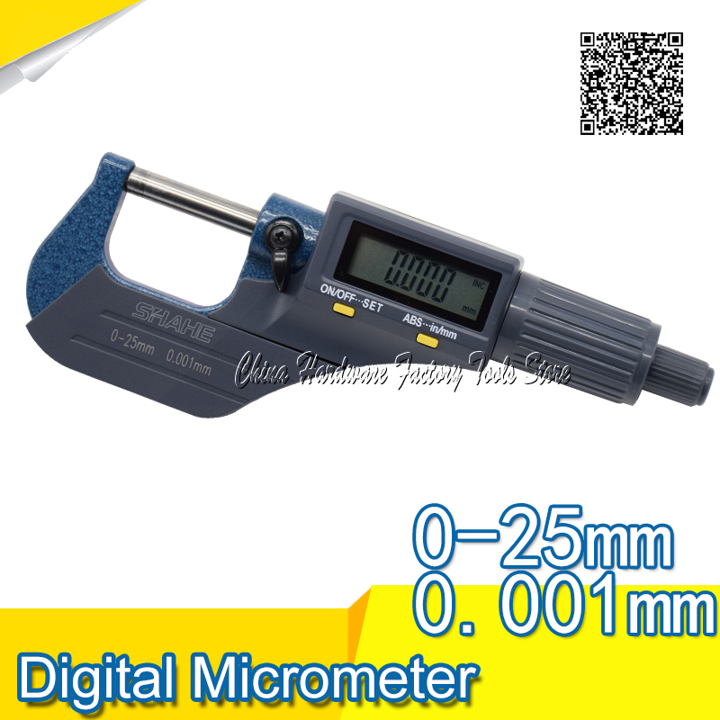 Free Shipping SHAHE 0-25mm Electronic Digital Micrometer Gauge Outside Micrometer 0.001 mm  digital micrometer free shipping 100 125mm digital micrometer 0 001mm micron outside micrometer electronic micrometer measuring tools