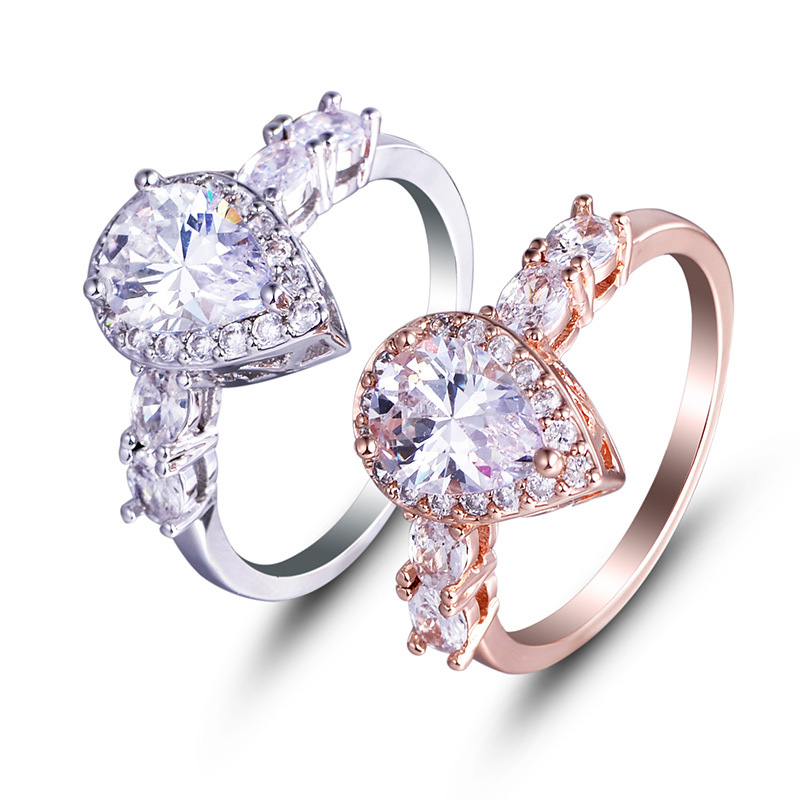 Female Water Drop Wedding Ring Set Fashion 925 Silver Crystal White Jewelry Promise Rings for Women Love Forever